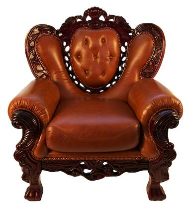 J. Horn 701BROWNC 701 Series Leather Armchair with Wood Frame