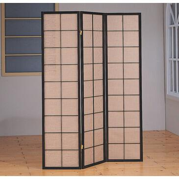 Monarch I 462 Folding Screen, with Three Panels, Circle Design, and Wooden Elegant Frame, in Natural