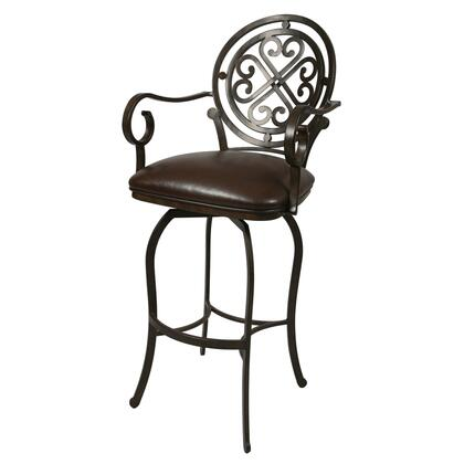 Pastel Furniture QLIF217 Island Falls Counter Height Swivel Barstool With Arms in Brown