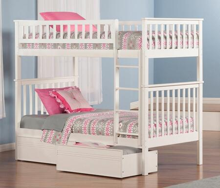 Atlantic Furniture AB5611 Woodland Bunk Bed Twin Over Twin With Flat Panel Bed Drawers