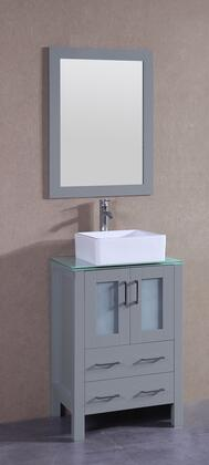 """Bosconi AGR124CBECWGX XX"""" Single Vanity with Clear Tempered Glass Top, Square White Ceramic Vessel Sink, F-S02 Faucet, Mirror, 2 Doors and X Drawers in Grey"""