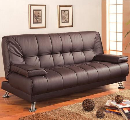 """Coaster Sofa Beds and Futons 76.5"""" Convertible Sofa Bed with Removable Armrests, Tubular Metal Legs and Faux Leather Upholstery in"""