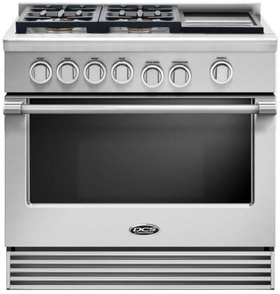 "DCS RGV2364GD 36"" Freestanding Gas Range with 4 Sealed Dual Flow Burners, 5.3 Cu. Ft. Oven Capacity, Griddle, Convection Bake, and Flat Vent Trim: Stainless Steel"