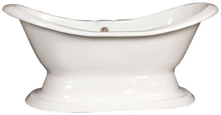 "Barclay CTDSN72HB Percy 72"" Cast Iron Double Slipper Tub with Cast Iron Pedestal and White Enamel Interior, in:"