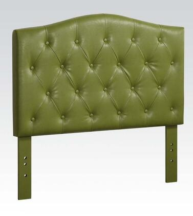 Acme Furniture 391G Viola Size Headboard with Button Tufting Detail and PU Leather Upholstery in Green