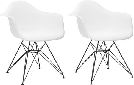 EdgeMod EM111BLKWHIX2 Padget Series Modern Metal Frame Dining Room Chair