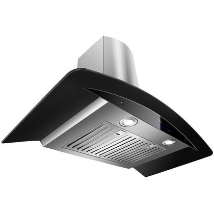 "Golden Vantage GWR73N36 36"" Wall Mount Range Hood with 760 CFM, 65 dB, Innovative Touch, 2W LED Lighting, 4 Fan Speed, Stainless Steel Baffle Filter and X: Black"