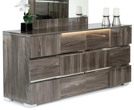 """VIG Furniture Modrest Picasso Collection VGACPICASSO-D 66"""" Italian Modern 6-Drawer Dresser with Lacquer Finish, LED Lights and Metal Feet in"""