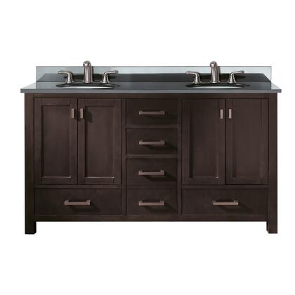 "Avanity MODERO-VS60 Modero 60"" Double Vanity with Backsplash Top, 2 Porcelain Sinks, and Brushed Nickel Finished Hardware"