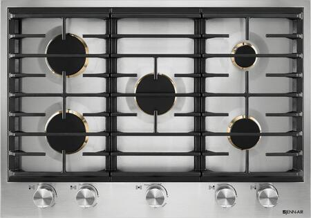 Jenn-Air JGC353GS Gas Cooktop with 5 Burners, 20000 BTU Dual Stacked PowerBurner, Flame-Sensing Re-ignition, and White LED Burner Indicator, in Stainless Steel