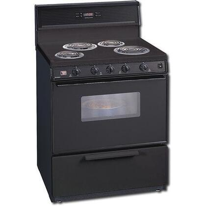 """Premier EDK340 30"""" Freestanding Electric Range with 4 Coil Elements, 3.9 cu. ft., Storage Drawer, Electronic Clock/ Timer, Windowed Door, Interior Light and 10"""" Tempered Glass Backguard in"""