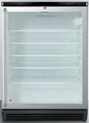 "Summit SCR600BLBIxx 24"" Commercially Approved Compact Beverage Center with 5.5 cu. ft. Capacity, 4 Adjustable Glass Shelves, Automatic Defrost, and Lock, in Stainless Steel"