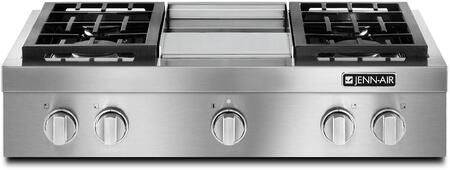 Jenn-Air JGCP53WP Pro-Style Gas Rangetop with Griddle, 20000 BTU Stacked PowerBurner, Sealed Burners, and Cast Iron Continuous Grates, in Stainless Steel