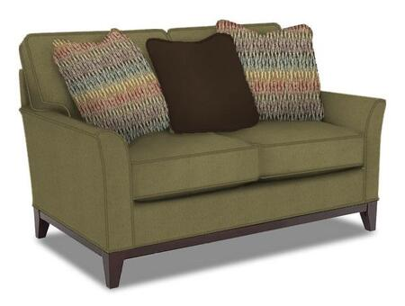 "Broyhill Perspectives Collection 4445-1 57"" Wide Loveseat with 3 Pillows Included, DuraCoil Reversible Seat Cushions, Non-Sag Springs, and Tapered Feet in X with Cognac Finish"