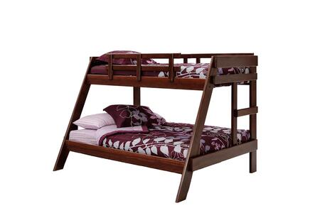 Chelsea Home Furniture 3626503X Twin Over Full A-Frame Bunk Bed, with Pine Construction, Guard Rails, Rustic Style, and Stain Finished in Dark