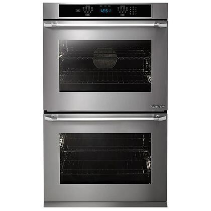 "Dacor DTO230Px Distinctive 30"" Double Wall Oven in Black Glass - ships with stainless steel Pro Style handle."