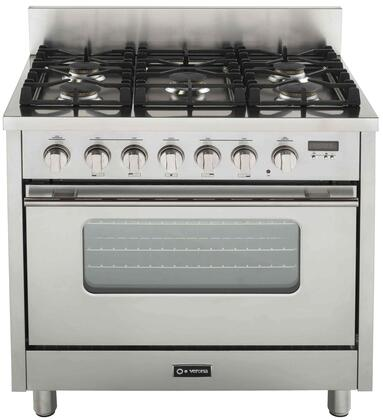 Verona VEFSGGL65SSLP Pro Series Stainless Steel Gas Freestanding Range with Sealed Burner Cooktop, 3.6 cu. ft. Primary Oven Capacity,
