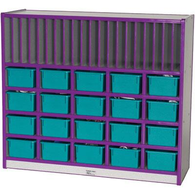 Mahar M60442 20 Opening Cubbie Unit With Letter Slots with Trays in Maple Finish with Edge Color