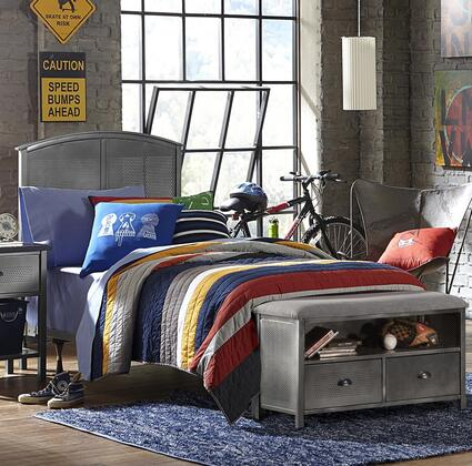 Hillsdale Furniture 1265BRPB Urban Quarters Panel Storage Bed Set with Footboard Bench, Punched Hole Detailing and Metal Construction in Black Steel Finish
