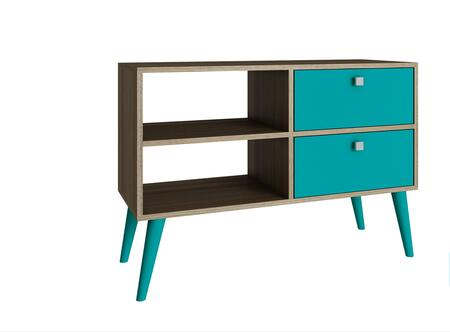 "Accentuations Dalarna Collection 3AMC12X 35"" 2-Shelve TV Stand with Splayed Legs, 2 Drawers and Square Knob Design in"