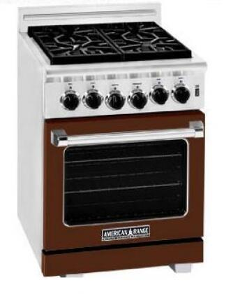 American Range ARR244LHB Heritage Classic Series Gas Freestanding Range with Sealed Burner Cooktop, 3.8 cu. ft. Primary Oven Capacity, in Brown