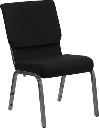 """Flash Furniture HERCULES Series XU-CH-60096-BX-SV-GG 18.5"""" Wide Stacking Church Chair with 4.25"""" Thick Seat, Book Pouch on Back, 16 Gauge Steel Frame, and Silver Vein Frame"""