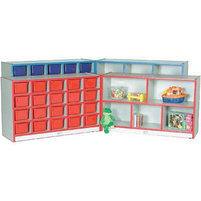 Mahar M708552 20 Cubbie Hinged Storage Units with Hasp, Contains 2 Units With Trays in Maple Finish with Edge Color (Pre-School)