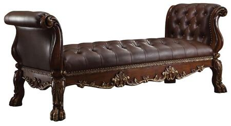Acme Furniture 9648B Dresden Bench with Button Tufted Cushion, Decorative Nail Head Trim, Carved Wooden Elements and PU Leather Upholstery in