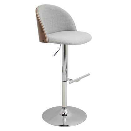 "LumiSource Luna BS-LUNA WL 37"" - 42"" Barstool with 360 Degree Swivel, Footrest and Fabric Upholstery in"