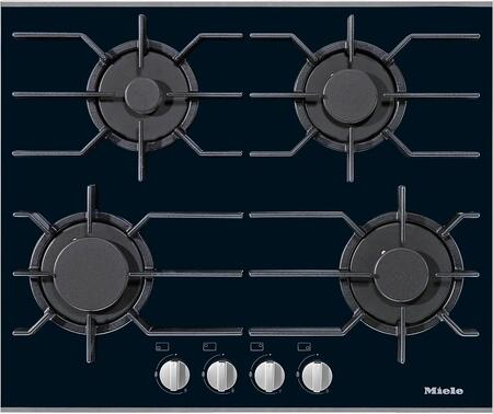 "Miele KM3010x 24"" Gas Glass Cooktop with 4 Sealed Burners, ComfortClean Dishwasher Safe Grates, GasStop and ReStart in Black"