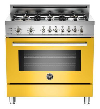 "Bertazzoni PRO366DFSGI 36"" Professional Series Dual Fuel Freestanding Range with Sealed Burner Cooktop, 4.0 cu. ft. Primary Oven Capacity, in Yellow"