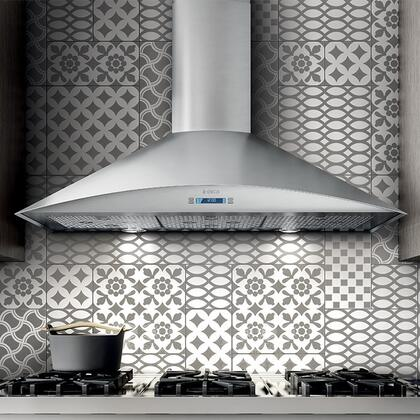 Elica EFG63 Aspire Series Foglia Wall Mount Chimney Hood with 600 CFM Internal Blower, Dishwasher-Safe Stainless Steel Microhole Filter, Multi-Function Electronic with LCD Display, and 2 Halogen Lights: Stainless Steel