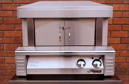 "Alfresco ALFPZA 30"" Pizza Oven Plus with 456 Sq. in. Cooking Surface, 40,000 BTUs, Ceramic Gas Log Rear Burner, and Removable Arch and Doors in Stainless Steel"