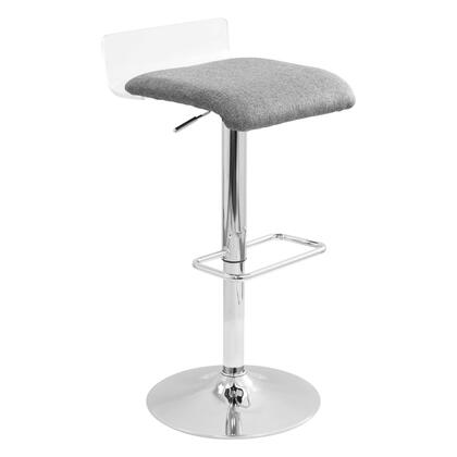 "LumiSource Swerve BS-SWRV 27"" - 35"" Barstool with 360-Degree Swivel, Height Adjustment and Chrome Base in"