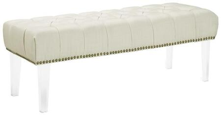 EdgeMod EM231CRM Jordana Series Bedroom Armless Wood Fabric Bench