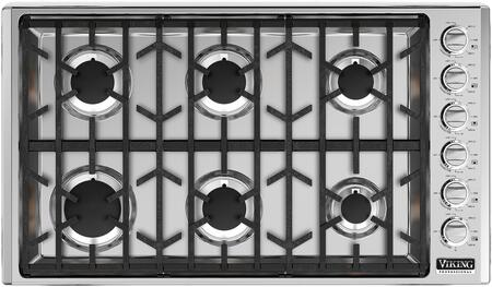 """Viking VGSU5366BSS- 36"""" Professional 5 Series Gas Cooktop with 6 Permanently Sealed Burners, SureSpark Ignition System, ScratchSafe Grate Design and Simmer Settings in Stainless Steel:"""