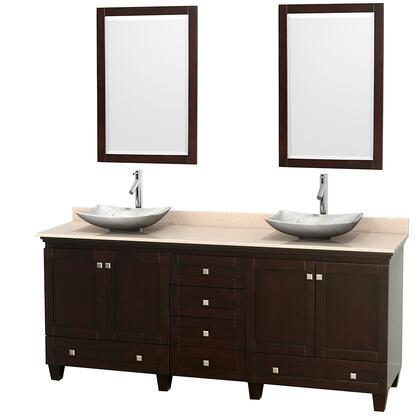"Wyndham Collection Acclaim 80"" Double Bathroom Vanity with 4 Doors, 6 Drawers, 2 Mirrors, Brushed Chrome Hardware, Ivory Marble Top and Arista White Carrera Marble Sinks in"