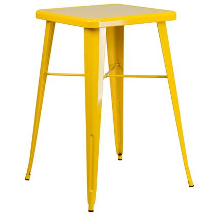 """Flash Furniture 23.75"""" Bar Height Table with 2"""" Thick Edge Top, Galvanized Steel Construction, Protective Rubber Floor Glides, Cross Brace and Powder Coat Finish"""