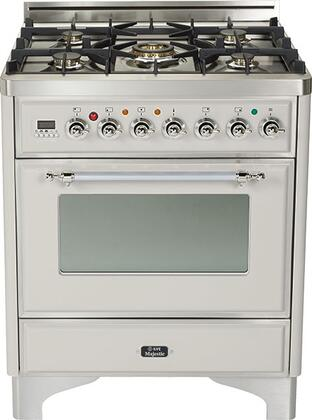 """Ilve UM76DMPX 30"""" Majestic Series Freestanding Dual Fuel Range with 5 Sealed Burners, 3.0 cu. ft. Primary Oven Capacity, Convection Oven, Warming Drawer, Chrome Trim, in"""