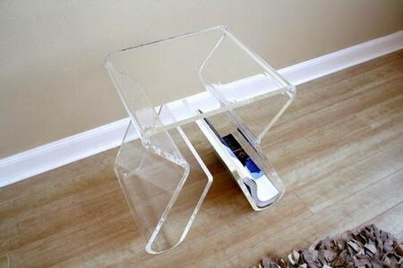 Wholesale Interiors FAY-8196- Acrylic End Table with Magazine Rack