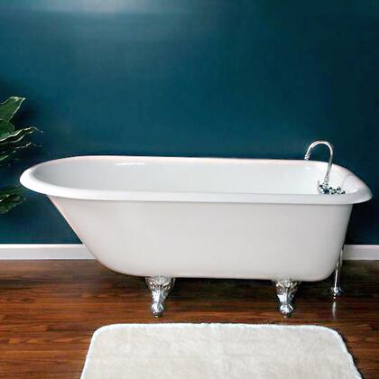 """Cambridge RR61NH Cast Iron Rolled Rim Clawfoot Tub 61"""" x 30"""" with No Faucet Drillings"""
