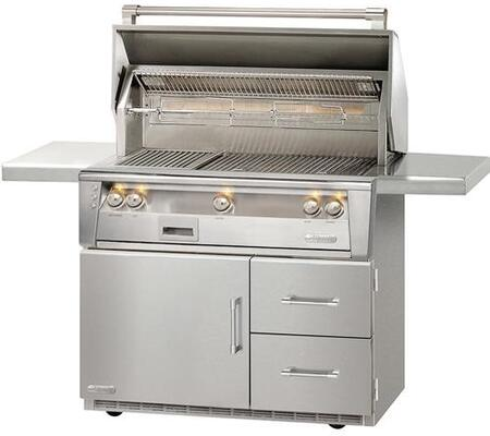 "Alfresco ALXE-42SZRFG-LP 42"" Standard Grill Liquid Propane On Refrigerated Base with Sear Zone in Stainless Steel"