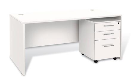 Unique Furniture 1C100025MP Executive Desk with 3 Drawer Mobile Pedestal