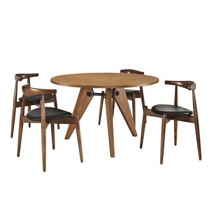Modway EEI-1379-WAL-DWL Stalwart Dining Chairs and Table Set of 5 with Modern Design, Solid Beechwood Dark Walnut Table Frame, and Chair Cushion with Vinyl Upholstery
