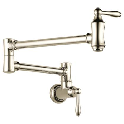 Cassidy  1177LF-PN Delta Cassidy: Wall Mount Pot Filler Faucet - Traditional in Polished Nickel
