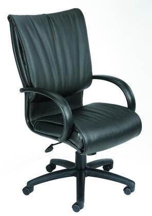 "Boss B97X 44"" High Back Executive Chair with Loop Arms, Dacron Filled Cushions, Seat Height Adjustment, and Hooded Double Wheel Casters in Black LeatherPlus Upholstery"