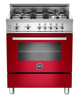 """Bertazzoni PRO304GASROLP 30"""" Professional Series Red Gas Freestanding Range with Sealed Burner Cooktop, 3.6 cu. ft. Primary Oven Capacity, Storage"""