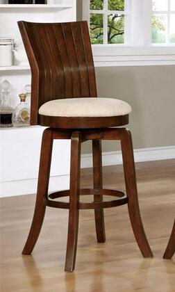 Furniture of America Edgeland CM-BR6844-XX Swivel Bar Stool with Plank Design, Padded Fabric Seat and Angled Backrest in Brown Cherry Finish