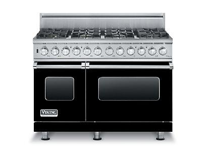 """Viking VDSC5488BLP 48"""" Professional 5 Series Liquid Propane Dual Fuel Range with 8 Sealed Burners, SureSpark Ignition System, TruConvec Convection Cooking and Gourmet-Glo Infrared Broiler, in"""