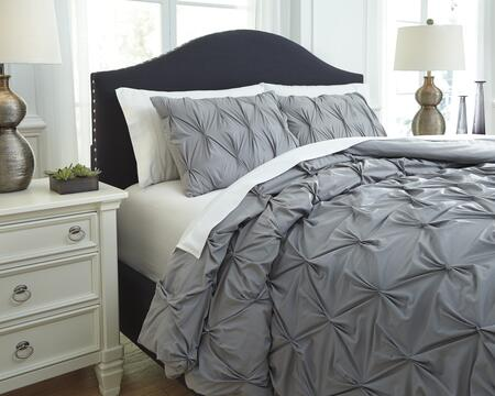 Signature Design by Ashley Rimy Q7560 3 PC Queen Size Comforter Set includes 1 Comforter and 2 Standard Shams with Quilted Pleat Design, 200 Thread Count and Cotton Material in Color